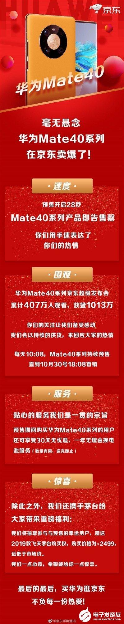 华为Mate40系列京东卖爆:28秒售罄