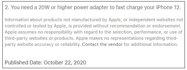 苹果:只有原装20W快充头才能发挥iPhone 12的快充实力