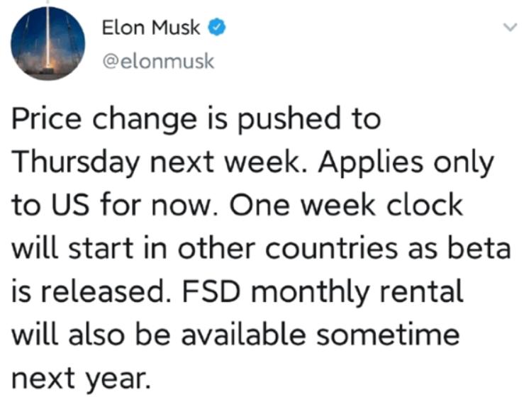 马斯克:特斯拉FSD套件还会上涨,但仅限于美国,...