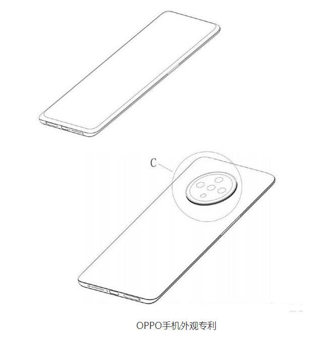 OPPO新专利公布,采用屏下镜头设计