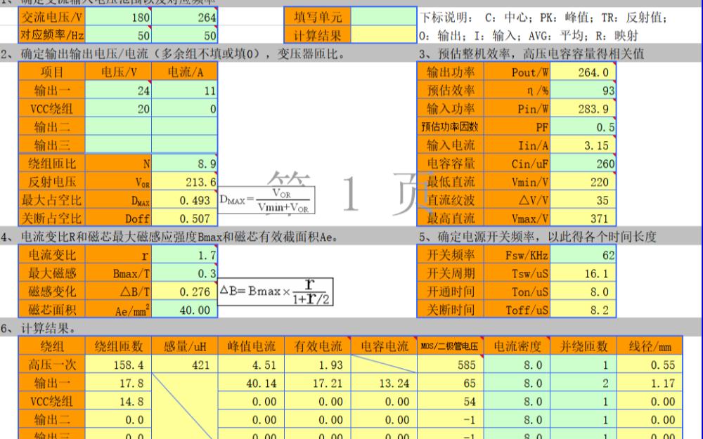 電源變壓器的計算表格實用工具免費下載