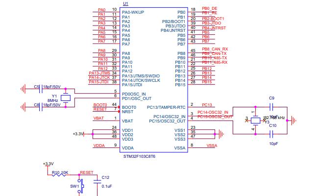 STM32系列工控板的MCU原理圖免費下載