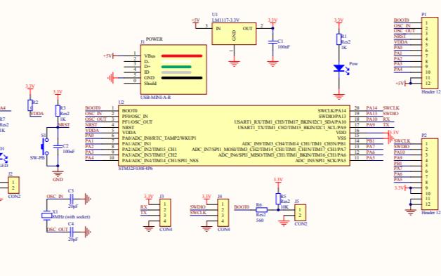 STM32F030F4P6单片机的电路原理图免费下载