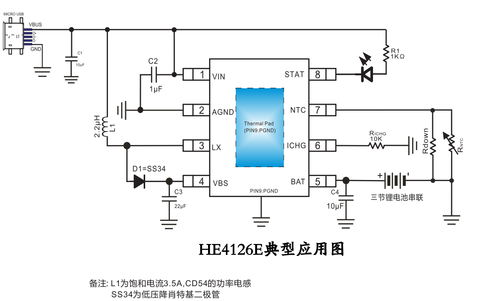 HE4126E三节锂电池串联升压充电管理芯片的数据手册免费下载