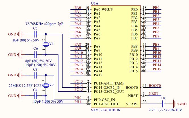 STM32F401CCU6核心板的电路原理图免费下载