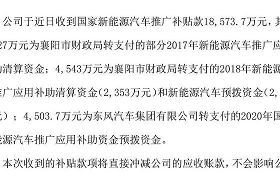 东风汽车收到新能源汽车推广补贴款1.86亿,将直接冲减公司的应收账款