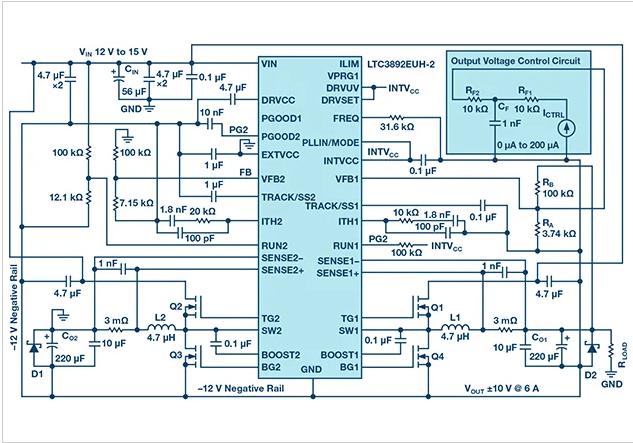 基于公共降压转换器的双极性,单路输出和可调电源