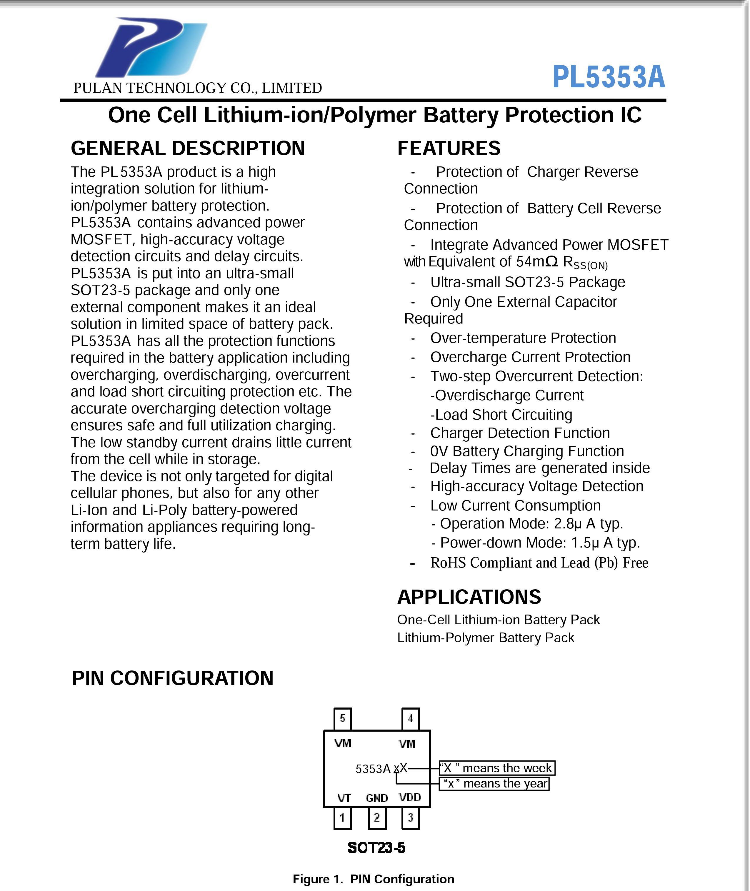 鋰電池保護電路PL5353A 外圍超簡單的單節鋰...
