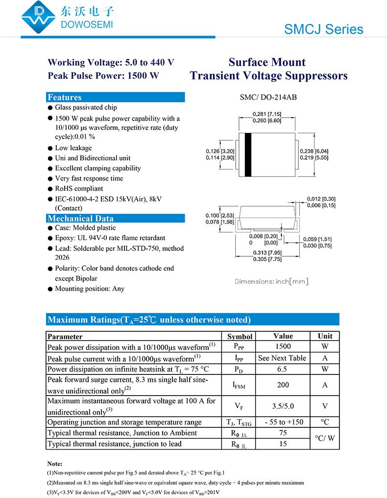 關于SMCJ30CA瞬態抑制二極管的介紹