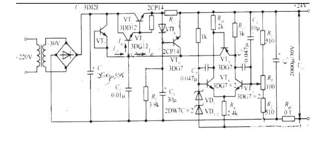 24V大功率直流稳压电源电路图