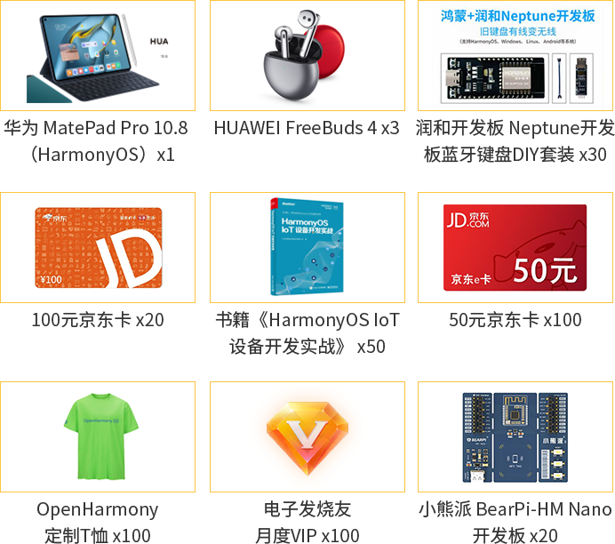 报名OpenHarmony开源硬件分享会,抢3999华为MatePad Pro!