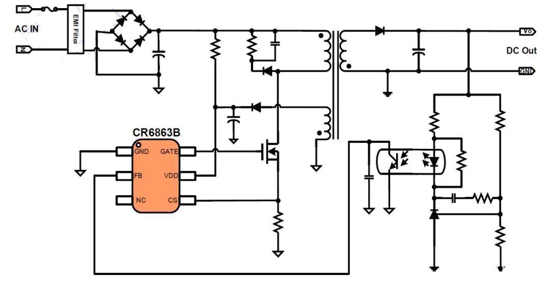 CCM+PFM混合电流模式PWM控制器方案测试 降低开关噪声 简化EMI设计