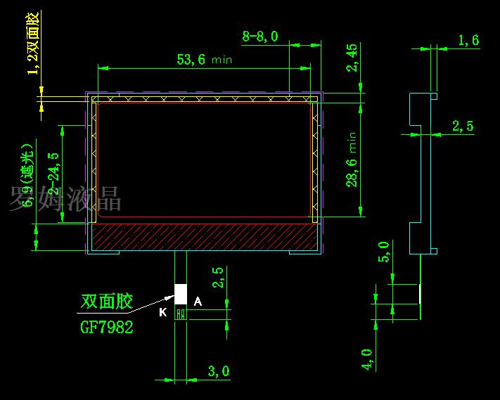 单色液晶屏中不同背光的结构类型