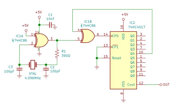 分頻器產生精確的455kHz方波信號