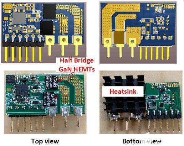 初級側半橋子卡 PCB 布局(頂部)和圖片(底部)。