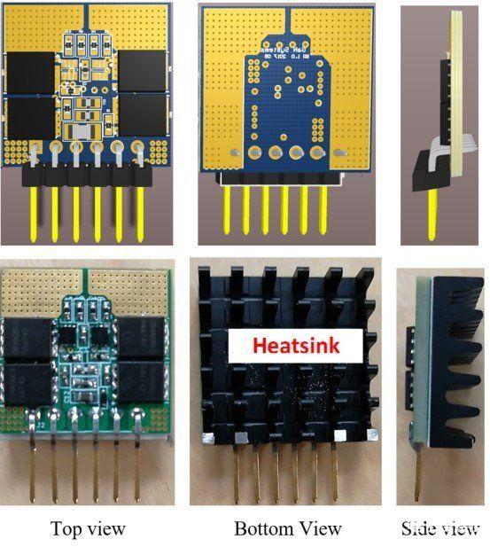 次級側同步整流子卡 PCB 布局(左)和圖片(右)。