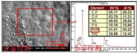 对焊锡不良的PCB板做微观以及表面元素分析