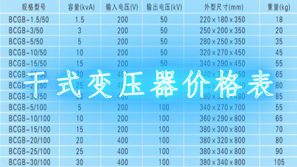 干式变压器价格表