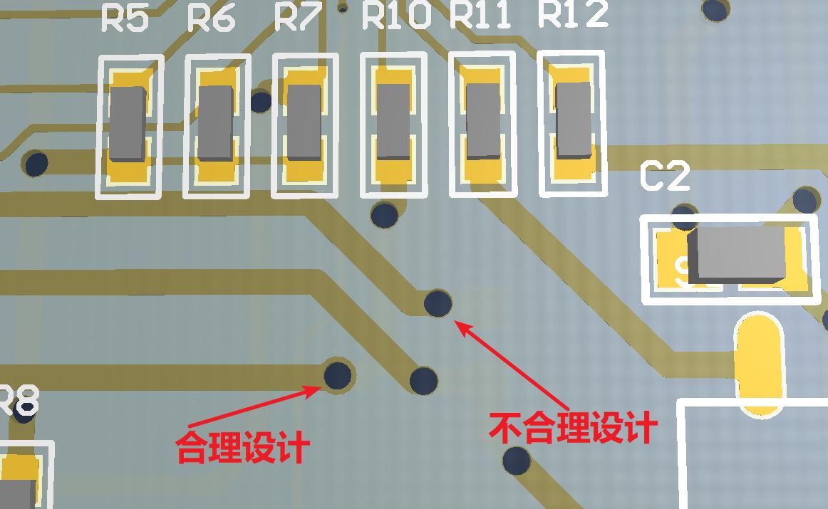 PCB过孔焊盘设计有误示意图1
