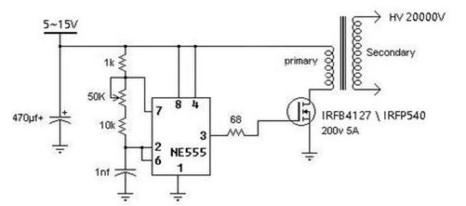 基于555时基IC的负离子发生器电路解析