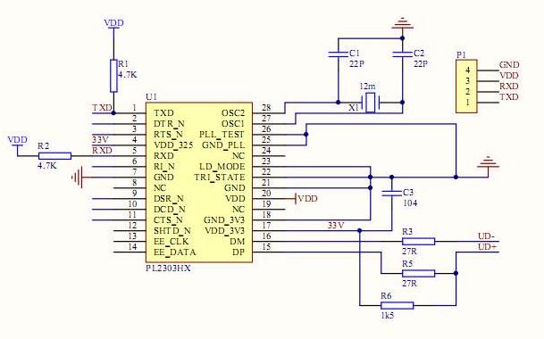 无线串口通信的PCB原理图免费下载