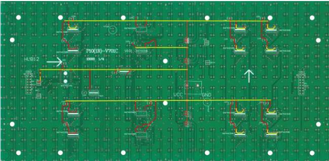 PCB板实物图上的线路走向