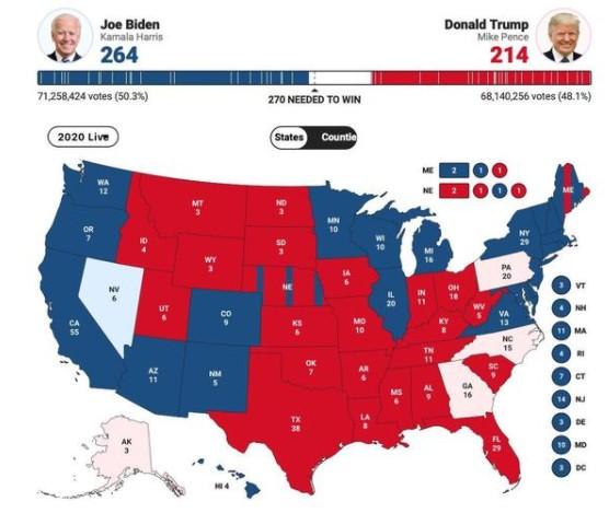 拜登逆转拿下密歇根州等两个州