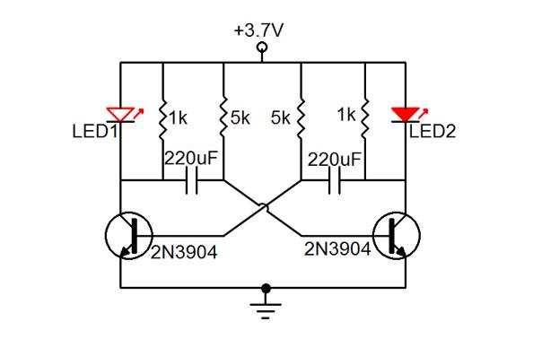 三極管動態LED的PCB原理圖免費下載