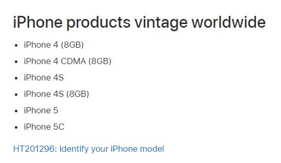 iPhone 5c正式被列为过时产品