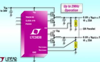 双输出同步降压型DC/DC控制器LTC3838的...