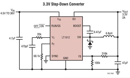 降壓型開關穩壓器LT1912的性能及應用范圍