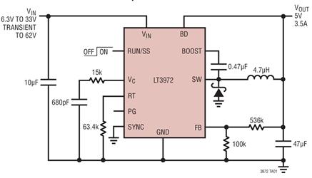 降壓型開關穩壓器LT3972的作用、性能及功能分析