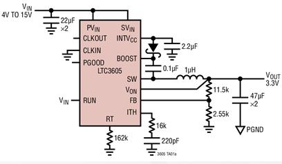 同步降壓型穩壓器LTC3605的性能特點及應用范...