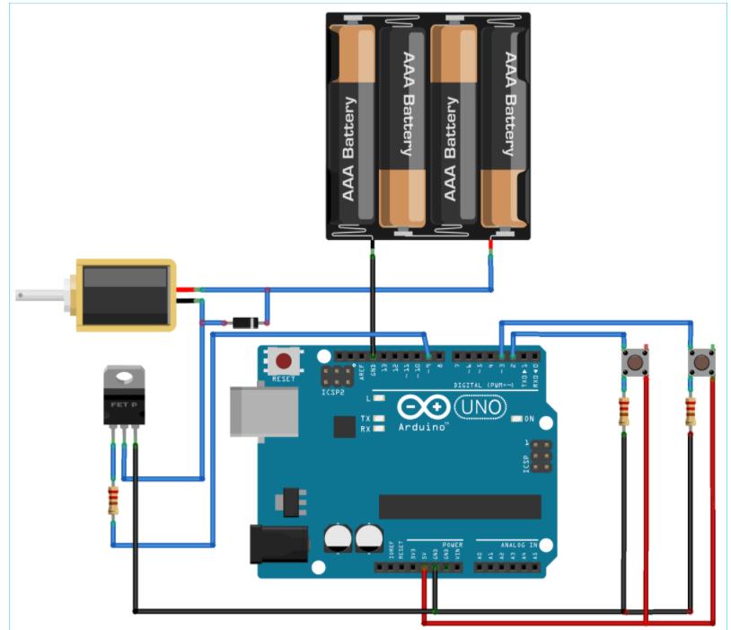 基于Arduino开发板控制电磁阀的工作原理图