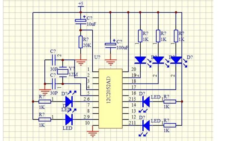 STC12C2052AD最小系统的PCB和电路原理图免费下载