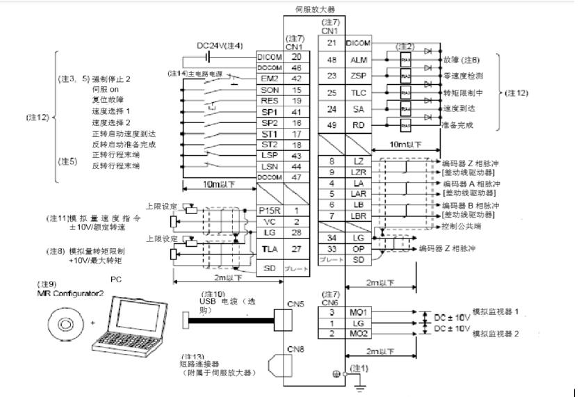 伺服驱动器控制模式的接线及其注意事项