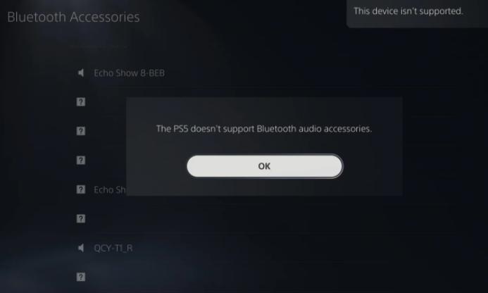 索尼PS5主机目前不支持蓝牙音频设备