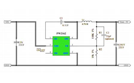 PW2162同步整流降压转换器芯片的数据手册免费下载
