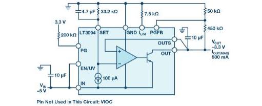 负线性稳压器在1MHz下具有0.8μV RMS噪声和74dB电源抑制比