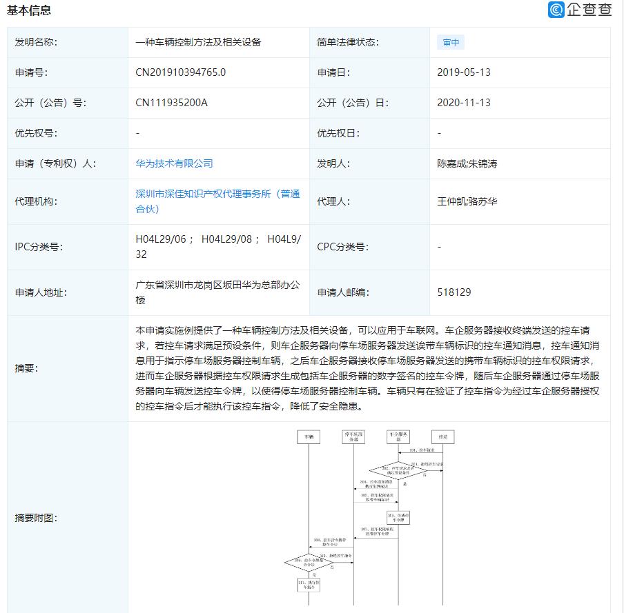 华为申请两项专利,涉及电动车和车辆控制