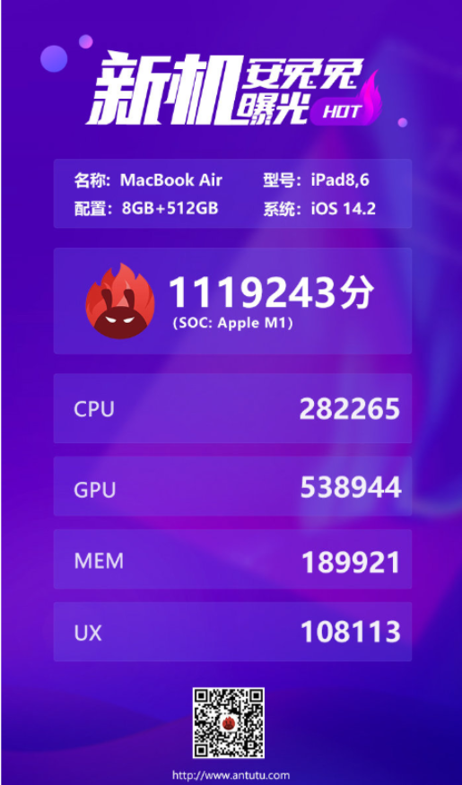 苹果M1处理器安兔兔跑分成绩曝光,已打破历史记录