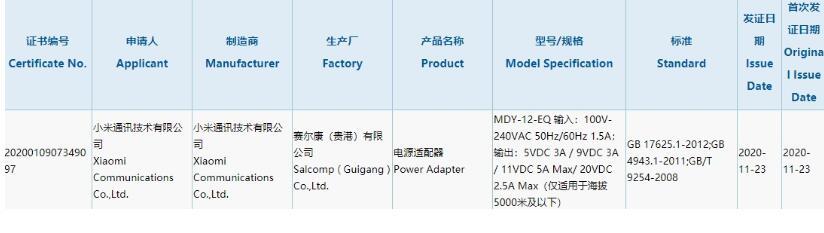 小米新款充电器现已通过3C认证