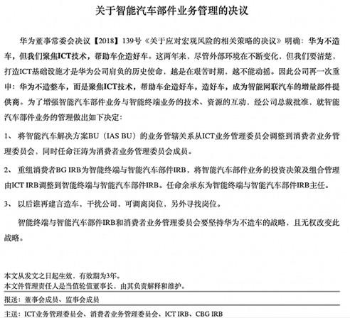 华为任正非正式签发关于智能汽车部件业务管理的决议
