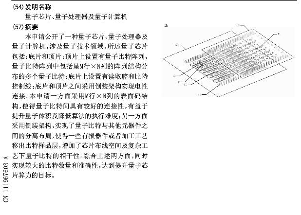 腾讯申请量子计算专利:芯片与处理器
