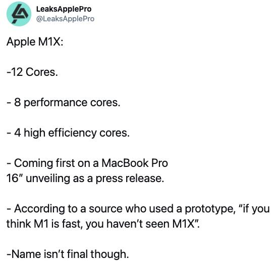 苹果自研芯片M1X将在16英寸MacBook Pro上首发