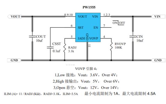 PW1555限流开关保护芯片的数据手册免费下载