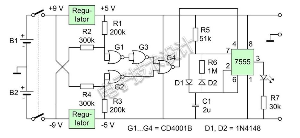 關于9V電池供電的電池監控器電路