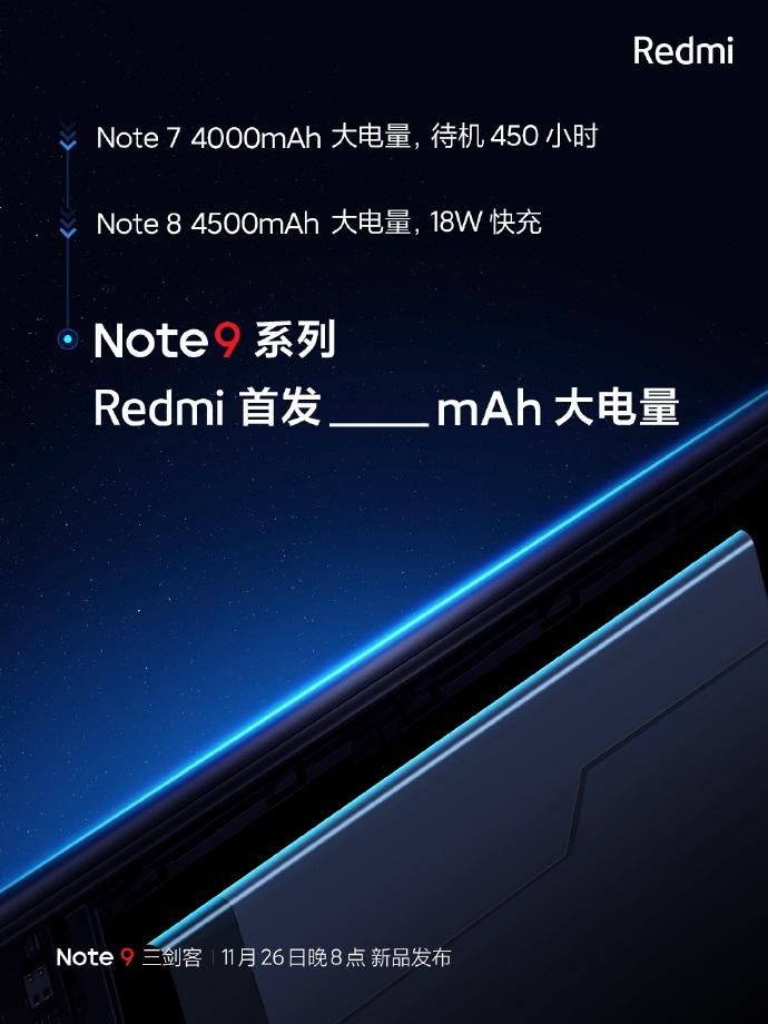 小米Redmi Note 9/Pro官方爆料:电量自由