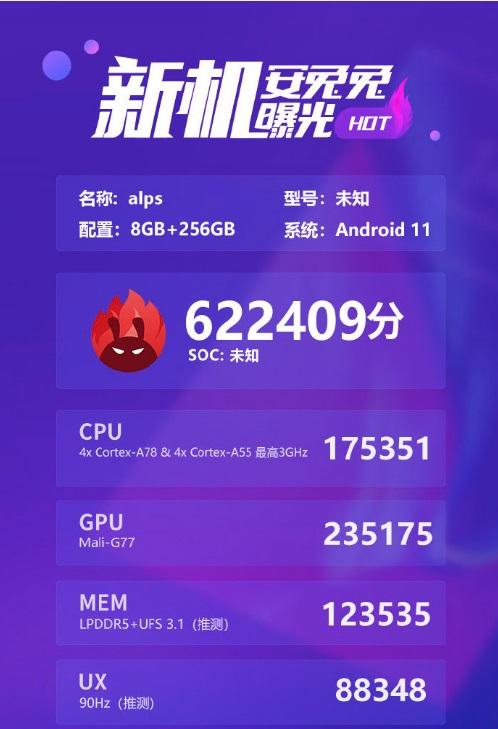 联发科6nm芯片MT6893跑分曝光:超骁龙865