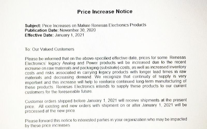 日本半导体制造商瑞萨电子发布涨价通知
